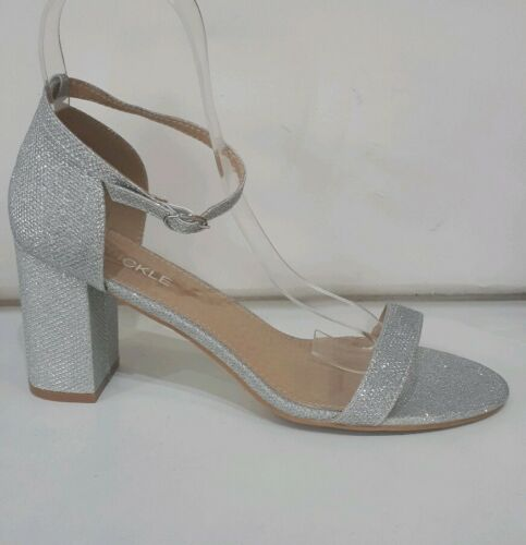 "9-12 UK Transvestite,Crossdresser,4 inch/"",Block,Heel,Open,Toe Shoe,Ankle Strap"