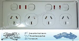 SLIM-4-WAY-OUTLET-QUAD-DOUBLE-POLE-GPO-4-Power-Point-Socket-with-NEON-4-gang