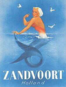 Vintage-Zandvoort-Holland-mermaid-travel-poster-reproduction-metal-sign