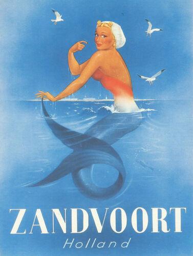 Vintage Zandvoort Holland mermaid travel poster reproduction metal sign