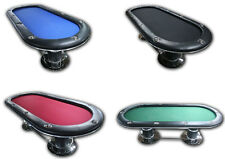 """96"""" Pedestal 10 player Poker table w footrests, green, blue or black speed cloth"""