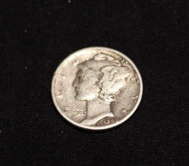 1945-D WINGED LIBERTY HEAD 10C Mercury Dime 90% Silver, Fine Condition