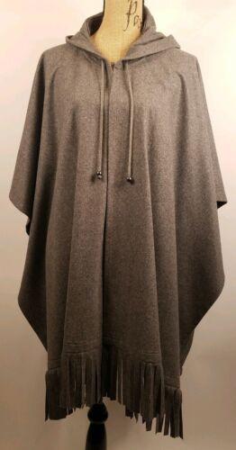 cappuccio poncho Womens Grey a unica con Benard con Harve Scialle Taglia incorporato frange XgwzgxSq
