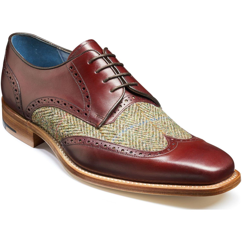 Hecho a Mano Cuero Marrón Tweed Dos Tonos Zapatos punta del ala Tapa Vestido Formal