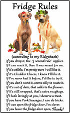 "Rhodesian Ridgeback Dog Gift - Large Fridge Rules flexible Magnet 6"" x 4"""