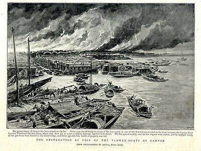 Aufstrebend The Destruction By Fire Of The Flower-boats At Canton Zhujiang River Von 1894 Clear-Cut-Textur