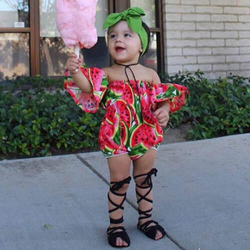 Infant Baby Girl Summer Off Shoulder Romper Jumpsuit Headband Outfit Clothes Set