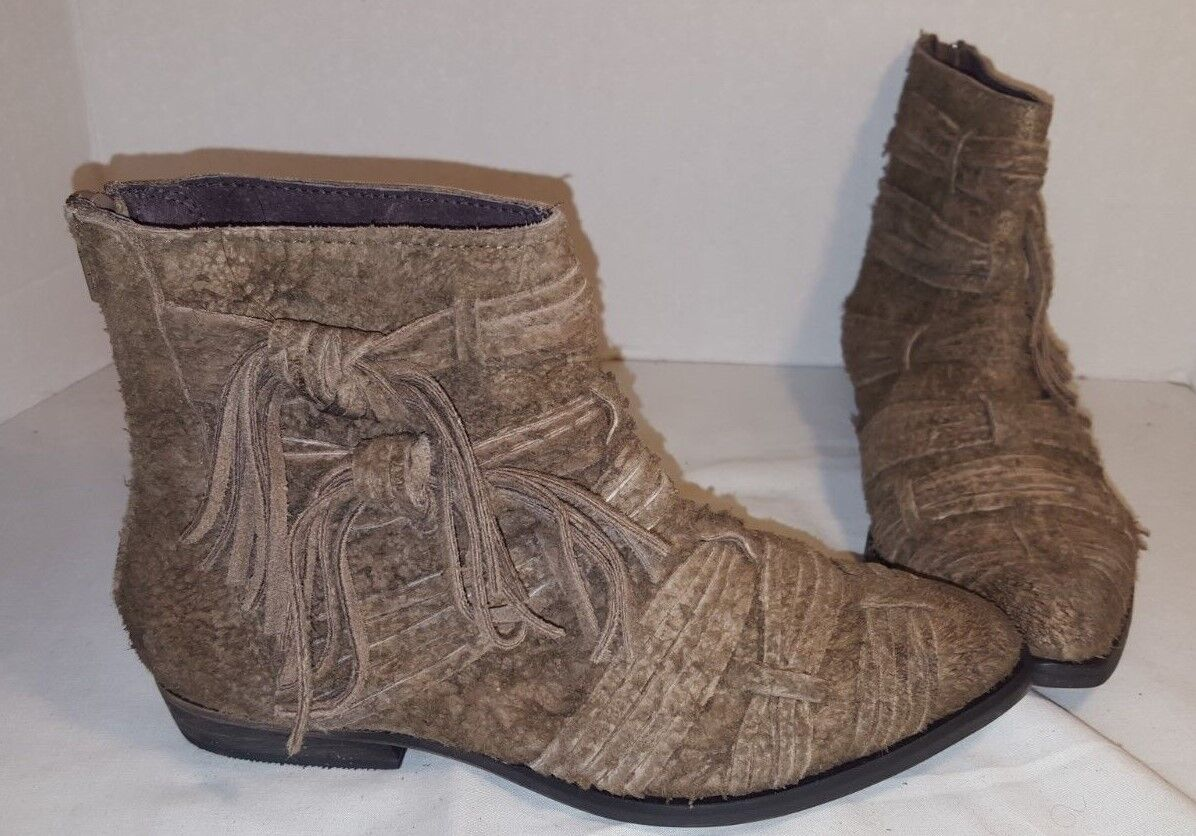 ANTHROPOLOGIE FREE PEOPLE TAUPE DECADES RAW SUEDE ANKLE BOOTS US 6