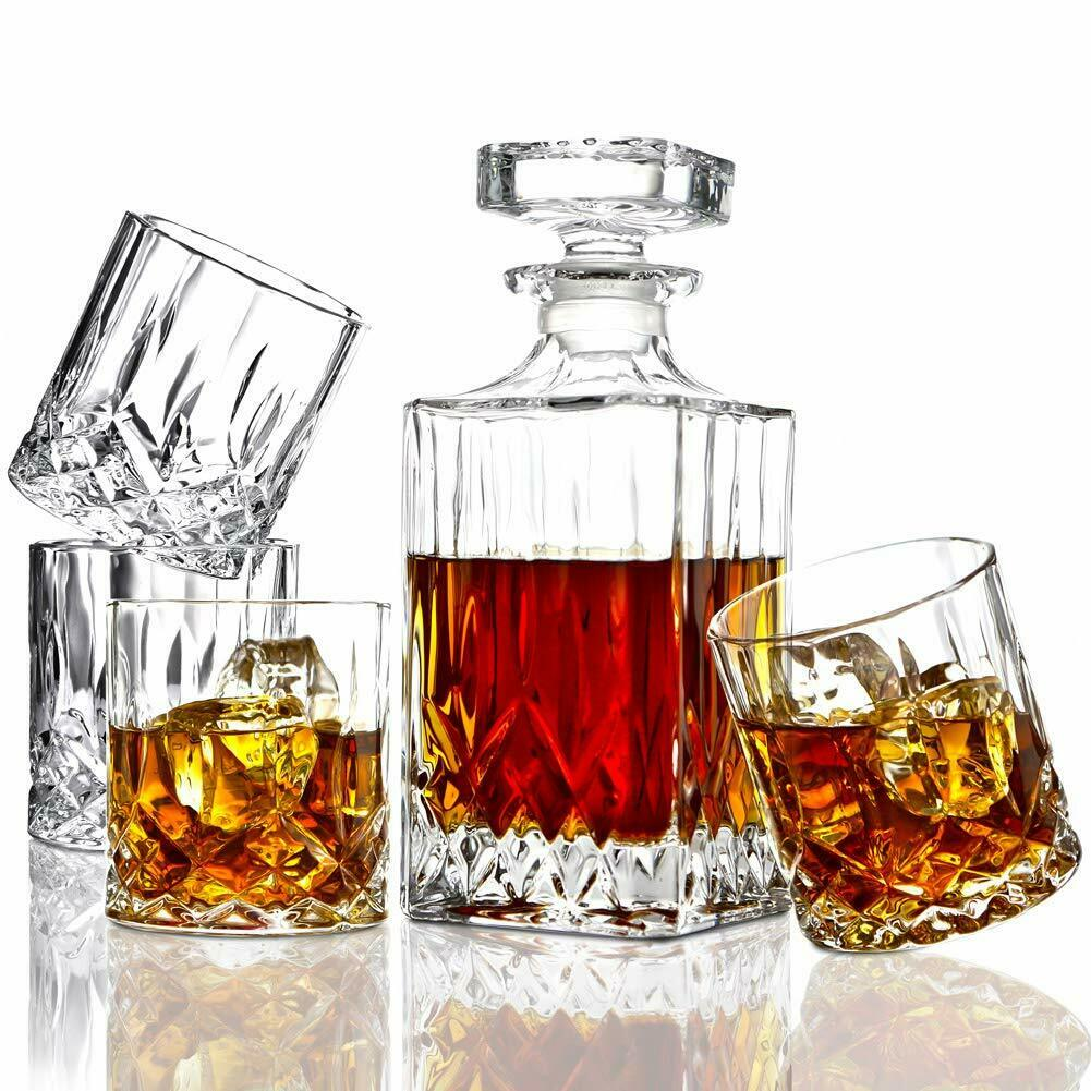 5 pièces italienne Fabriqué cristal Whiskey Decanter & Whiskey Verres Ensemble, Crystal