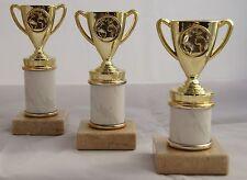 Pokal Serie 3 Pokale H.=16cm - 18cm gold-w. 49 Sportarten zur Auswahl mit Schild
