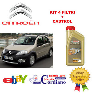KIT-4-FILTRI-TAGLIANDO-CITROEN-C3-1-4-HDI-OLIO-CASTROL-EDGE-5W40
