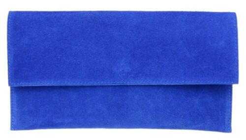 Ladies Plain Genuine Suede Envelope Clutch Bag Italian Wrist Strap Night Out