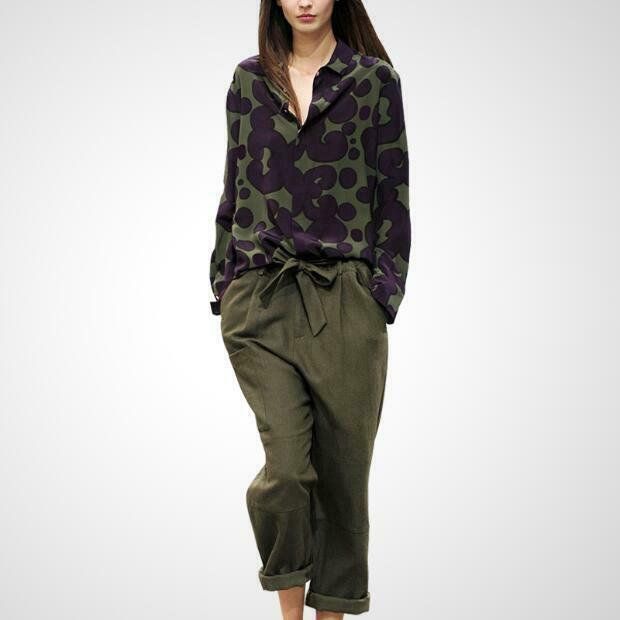 Traje verde para para para mujer 2 un. separa Floral Camo Pantalones de piernas anchas camisas Loose Fit A9 0a8404