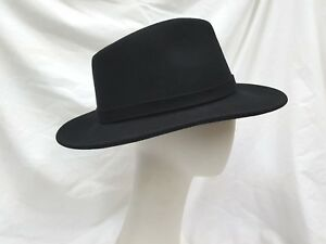 15db6f08b Men's Black Aussie Outback Western Fedora Smooth Finish Crushable ...