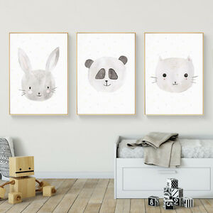 Details About Rabbit Fox Cat Animal Canvas Nursery Art Poster Prints Kids Baby Room Decoration