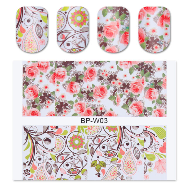 2Sheets BORN PRETTY BP-W03 Flower Leaves Nail Art Water Decal Transfer Stickers