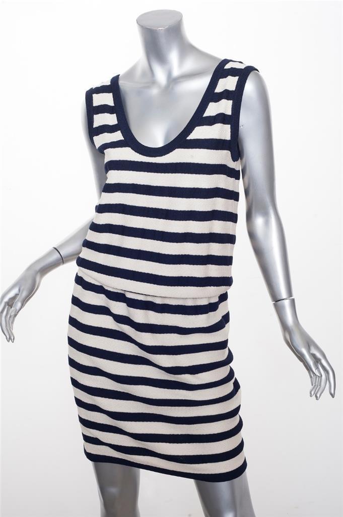 ST. JOHN COLLECTION Womens Navy+Cream Knit Striped Co-Ord Set Tank M+Skirt 4 S