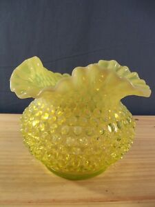 Fenton-Topaz-Opalescent-Vaseline-Glass-Hobnail-Large-Rose-Bowl-Vase-4-7-8-034-Tall