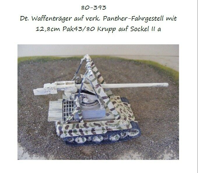 MGM 080-393 1 72 Resin WWII German 12.8cm Pak43 80 Base IIa on Panther Chassis