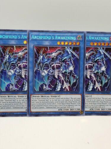 FIGA-EN031 1st Edition NM Secret Rare Yugioh 3x Archfiend/'s Awakening