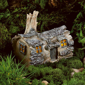 Solar Powered Garden Fairy Log House Led Outdoor Light Dwelling Home