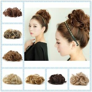 Natural-Look-Synthetic-Elastic-Scrunchie-Curly-Bun-Hairpiece-Hair-Extension-yn