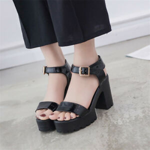 ee5367e00a6 Image is loading New-Women-Summer-Gladiator-Platform-Sandals-Chunky-High-