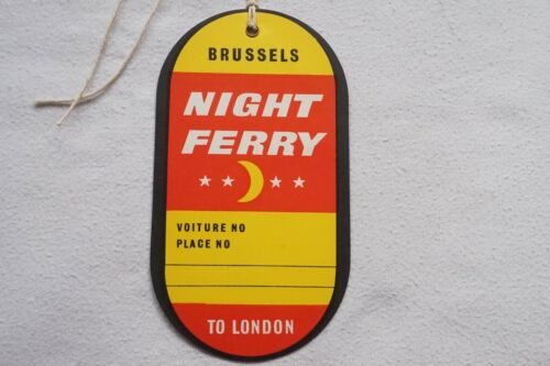 London Paris Night Ferry to Brussels Original Railway Luggage Label