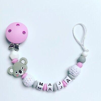 Schnullerkette mit Namen ☆ Mädchen ☆ rosa /& weiß ☆ Sterne ☆ Babygeschenk
