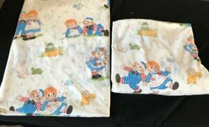 Vintage-Raggedy-Ann-and-Andy-Twin-flat-fitted-Sheet-Set-Bob-039-s-Merrill-Co
