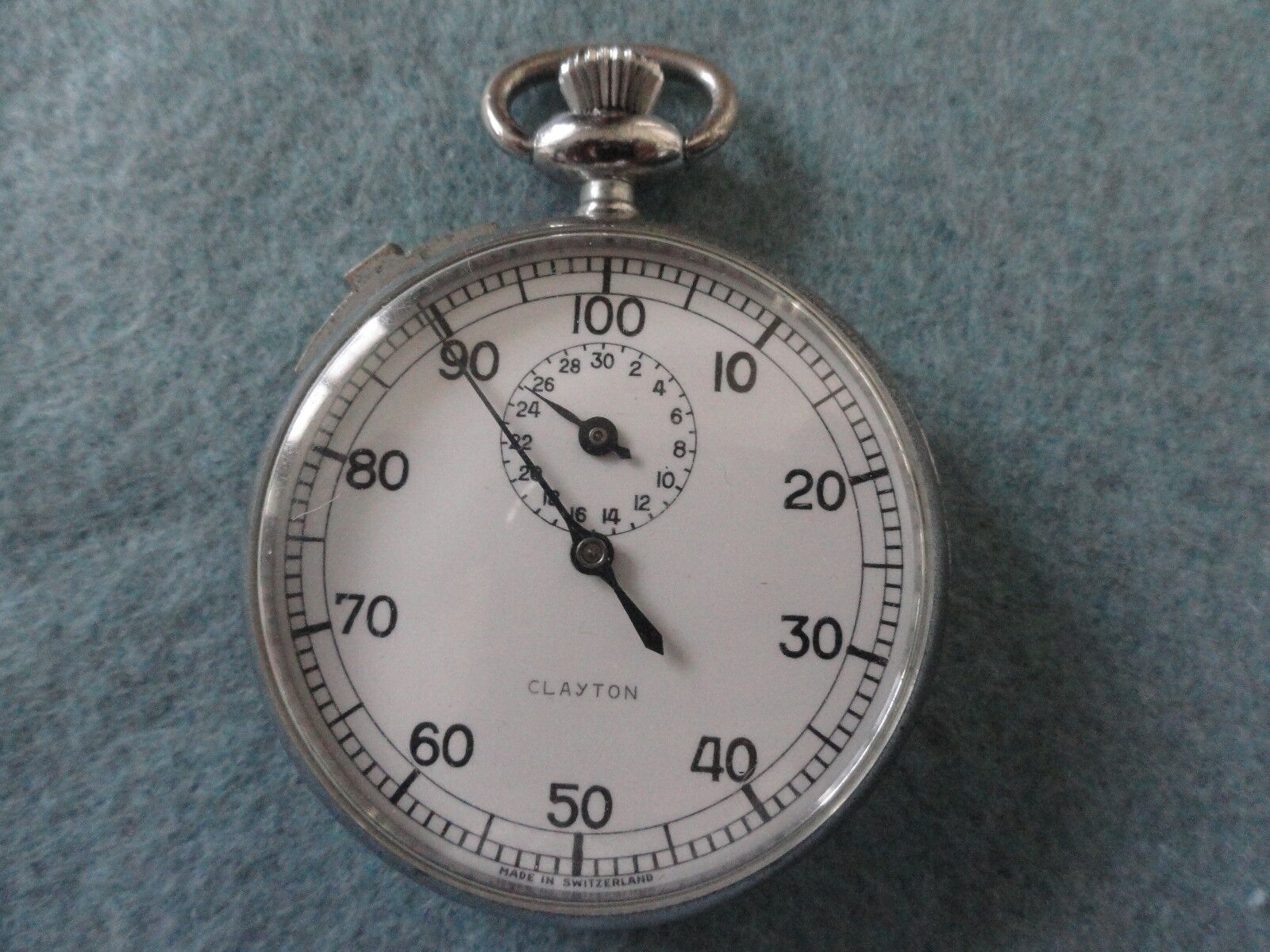 Swiss Made Clayton Mechanical Wind Up Vintage Stop Watch Stopwatch