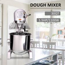 30qt Dough Food Mixer Commercial 15hp1100w 3 Speed Pizza Bakery Dough Blender