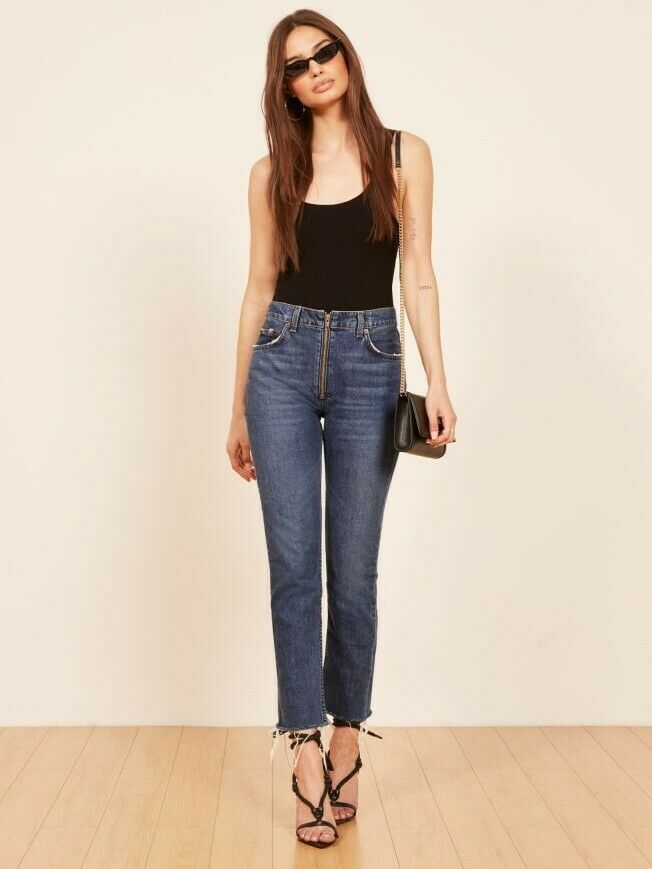 Neuf avec étiquettes Reformation Brooke Crop High Rise Straight Zip Jean Jeans  4