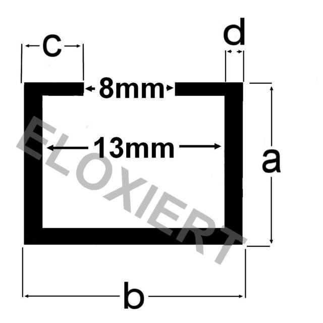 Alu C-Profil 11x17x4,5x2mm Frästisch selber bauen ELOXIERT Aluminium 1m