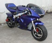 FREE SHIPPING KIDS 49CC 2 STROKE MINI BIKE GAS MOTOR SUPERBIKE BLUE V DB49B
