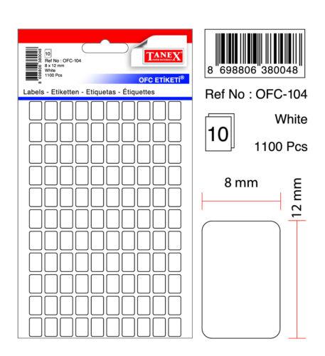 8 x 12 mm TANEX OFC-104 Vielzweck Etiketten weiß 1100 Etiketten