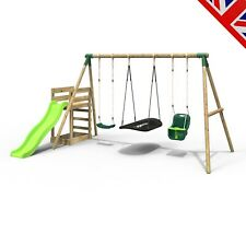 Rebo Wooden Swing Set plus Deck & Slide - Halley Green