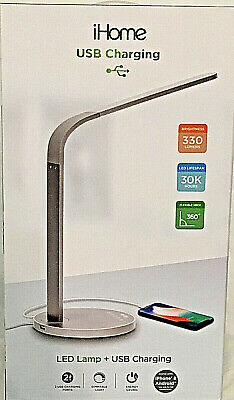 NEW! iHome Large LED Desk Lamp with 2-USB Charging Dimmer Function Flexible Neck | eBay