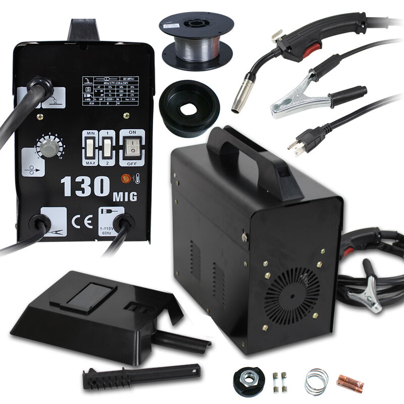 130 MIG Welder Flux Core WIre Automatic Feed Welding Machine with Free Mask. Available Now for 117.99