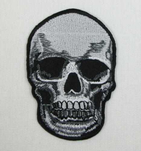 SKULL WITH TEETH  Iron On Sew On Embroidered Patch Emo Goth Punk Rock