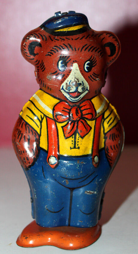 VINTAGE CHEIN TIN LITHO WIND UP CIRCUS WORKING BEAR MADE IN THE U.S.A. FIGURE
