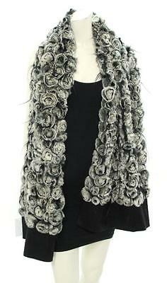 Designer White & Black Genuine Rex Rabbit Fur Shawl