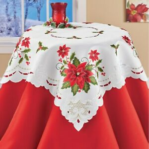 Delicate Poinsettia Embroidered Christmas Square Polyester Tablecloth
