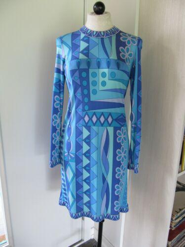 AVERARDO BESSI Blue Silk Long Sleeve Dress, Size 8