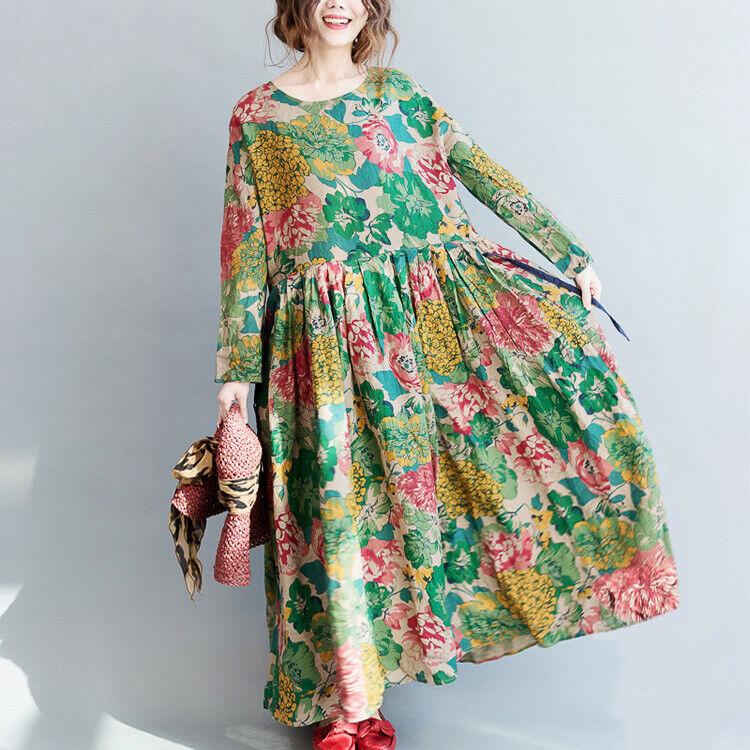 Ethnic Womens Floral Cotton Linen Swing Maxi Dress Kaftan Loose Oversize Dresses