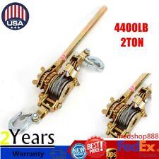2 Ton 4400lb Hoist Ratchet Winch Hand Puller Come Along Cable Lever Double Hooks