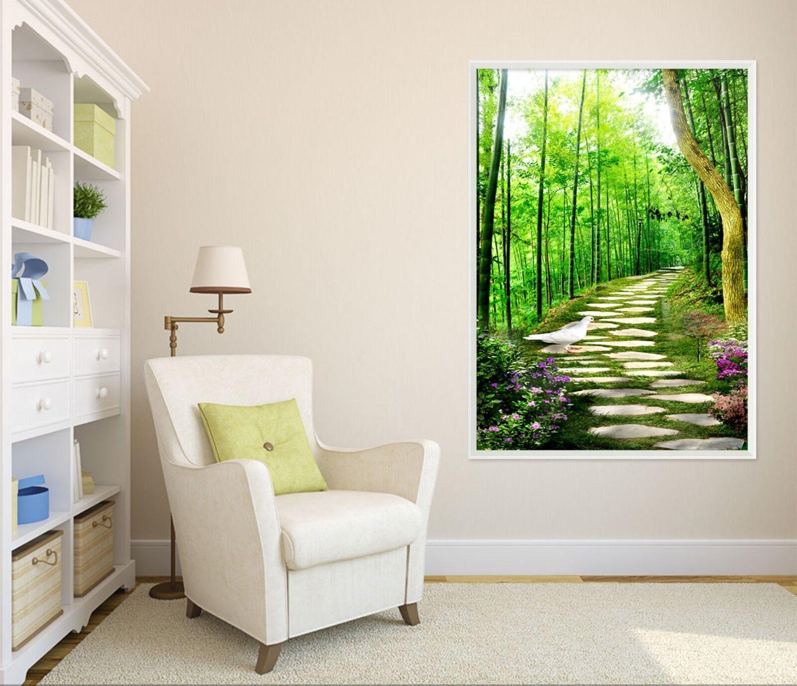 3d forêts Petite Route 4 Encadré Poster à la maison décor imprimer peinture art AJ