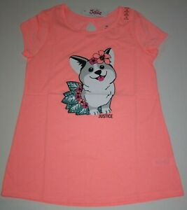 New-Justice-Girls-Top-8-year-Happy-Puppy-Dog-Lei-Flowers-Tee-Short-Sleeves