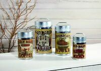 Country Primitive Farmhouse Mill Rooster Barn Canister Set 4 Tin Canisters