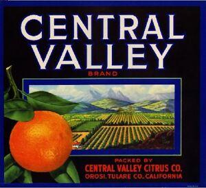 Orosi Central Valley Orange Citrus Crate Label Print
